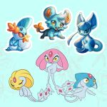 azelf black_eyes blue_background blue_eyes closed_eyes commentary creature creatures_(company) english_commentary floating full_body game_freak gen_3_pokemon gen_4_pokemon glaceon gradient gradient_background legendary_pokemon looking_at_viewer mesprit mudkip nintendo no_humans pokemon pokemon_(creature) qesque shinx standing uxie yellow_eyes