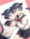 2boys absurdres animal_ear_fluff animal_ears artist_name azit_(down) black_hair blue_eyes blush bow cat_ears cat_tail ciel_phantomhive collarbone fang hair_between_eyes highres hug kuroshitsuji looking_at_viewer multiple_boys neck_ribbon open_mouth paw_print red_bow red_ribbon ribbon sailor_collar school_uniform short_hair shorts tail