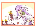 2girls ahoge bandage blush border chibi fate/grand_order fate_(series) fujimaru_ritsuka_(female) giantess kingprotea long_hair moss multiple_girls musical_note orange_border orange_hair picking_up purple_hair side_ponytail very_long_hair violet_eyes