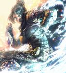 1girl action apex_legends belt biribiri black_bodysuit black_hair black_scarf blue_eyes bodysuit breasts commentary_request day electricity explosion from_side glowing glowing_eyes hair_bun hair_intakes highres holding holding_weapon kaburagi_yasutaka kunai ninja scarf short_hair sidelocks small_breasts solo squatting utility_belt weapon wraith_(apex_legends)