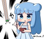 1girl bangs bare_arms bare_shoulders blue_dress blue_eyes blue_hair blush bowl chibi chopsticks commentary_request double_bun dress emphasis_lines eyebrows_visible_through_hair goo_girl half_slime-chan hana_kazari holding holding_bowl holding_chopsticks long_hair monster_girl open_mouth original pleated_dress simple_background sleeveless sleeveless_dress solo translation_request very_long_hair white_background