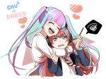 2girls :d ^_^ bang_dream! bangs blazer blue_eyes blue_hair blunt_bangs cat_ear_headphones character_name chu2_(bang_dream!) closed_eyes closed_eyes food gana_(mknumi) headphones heart holding_pocky hug hug_from_behind jacket long_hair long_sleeves multicolored_hair multiple_girls open_mouth pareo_(bang_dream!) pink_hair pocky redhead shirt sidelocks sleeve_tug smile spoken_squiggle squiggle streaked_hair striped striped_neckwear sweatdrop twintails two-tone_hair upper_body white_jacket white_shirt yuri