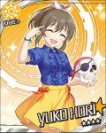 blush brown_hair character_name closed_eyes dress hori_yuko idolmaster idolmaster_cinderella_girls short_hair skull smile stars