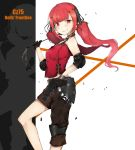 1girl asymmetrical_clothes bangs black_gloves blush breasts character_name commentary_request cz-75 cz-75_(girls_frontline) ekuesu eyebrows_visible_through_hair fingerless_gloves girls_frontline gloves gun hair_ornament hairclip handgun highres holding long_hair looking_at_viewer pistol red_eyes redhead sleeveless solo twintails very_long_hair weapon whip