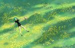 1other androgynous aqua_hair clipboard closed_eyes crystal_hair field flower gem_uniform_(houseki_no_kuni) grass green_hair houseki_no_kuni lying necktie on_back outdoors phosphophyllite short_hair sleeping solo