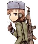 /\/\/\ 1girl alternate_costume bangs black_gloves brown_hair commentary_request empty_eyes expressionless eyebrows_visible_through_hair gloves grey_eyes grey_hat grey_jacket gun hand_up hat headset jacket long_sleeves looking_at_viewer misaka_imouto rifle shirosato short_hair simple_background solo swept_bangs thumbs_up to_aru_majutsu_no_index upper_body weapon weapon_on_back white_background