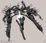 1girl absurdres artist_name bandage black_hair braid center_opening character_name coin fingerless_gloves full_body gloves grey_background gun highres invisible_hand long_hair mask mecha_musume midriff navel pale_skin personification red_eyes rifle solo star_wars thigh-highs vectorek weapon
