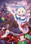 1girl :d black_legwear blonde_hair blue_eyes christmas christmas_tree clouds coat dennou_shoujo_youtuber_shiro dew_(7302235) full_moon fur_trim gift hair_ornament knees_up merry_christmas moon night night_sky open_mouth ornament party_whistle red_ribbon ribbon santa_costume shiro_(dennou_shoujo_youtuber_shiro) short_hair shorts sitting sky sleigh smile virtual_youtuber whale white_coat x_hair_ornament