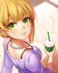 1girl arm_behind_back blonde_hair blue_sweater blush bra breasts cleavage commentary_request cup drinking_straw eyebrows_visible_through_hair from_above from_behind green_eyes holding holding_cup idolmaster idolmaster_cinderella_girls jewelry looking_at_viewer medium_breasts miyamoto_frederica natsuyu necklace outdoors short_hair signature solo sweater underwear
