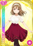 blush brown_eyes brown_hair character_name dress kunikida_hanamaru long_hair love_live!_school_idol_festival love_live!_sunshine!! smile