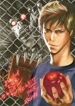 2boys apple book brown_hair death_note death_note_(2017) death_note_(object) english_text food fruit holding holding_food light_turner male_focus multiple_boys obata_takeshi official_art pointy_ears red_eyes ryuk shinigami white_skin wire_fence