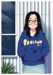 1girl 49s-aragon black_hair blue_hoodie copyright_name cowboy_shot drawstring expressionless glasses hands_in_pockets hood hood_down hoodie long_hair long_sleeves original pac-man pac-man_(game) parted_lips plant reflection solo window