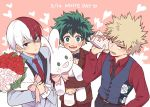 3boys :d bakugou_katsuki blazer blonde_hair blue_eyes boku_no_hero_academia bouquet bow bowtie dated flower formal freckles gift green_eyes green_hair grey_eyes heart heterochromia jacket male_focus midoriya_izuku multicolored_hair multiple_boys necktie nightcat open_mouth red_eyes red_flower red_rose redhead rose smile stuffed_animal stuffed_bunny stuffed_toy suit todoroki_shouto two-tone_hair waistcoat white_day white_flower white_hair white_rose