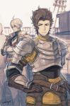 2boys armor artist_name belt black_gloves blonde_hair brown_gloves brown_hair crossed_arms facial_hair frown gloves granblue_fantasy hand_on_hip looking_at_viewer male_focus multiple_boys outdoors rackam_(granblue_fantasy) rigging siete standing stubble white_sky yoisho_(yoisyoisyo)