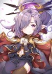 cape commentary_request dress granblue_fantasy hair_ornament hair_over_one_eye harvin highres long_hair looking_at_viewer navel nio_(granblue_fantasy) petals pilokey purple_hair simple_background smile thigh-highs violet_eyes white_background