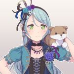 >:( 1girl animal animal_on_shoulder aqua_hair aqua_jacket ayasaka bang_dream! black_choker black_feathers black_ribbon blue_feathers blue_flower blue_rose choker commentary_request corsage cross-laced_clothes crown dog earrings feathers flower frown green_eyes grey_background hair_feathers hair_flower hair_ornament hair_ribbon hairband hand_on_hip hikawa_sayo jacket jewelry long_hair necklace outline petting purple_feathers purple_flower purple_rose ribbon rose serious short_sleeves solo upper_body white_outline