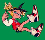 1girl aqua_eyes artist_name bandanna black_shorts blonde_hair buttons domino_mask fang full_body green_background inkling jacket long_sleeves looking_at_viewer mask ohil_(ohil822) pointy_ears shoes short_hair shorts simple_background smile sneakers solo splatoon splatoon_(series) splatoon_2 teeth tentacle_hair twintails