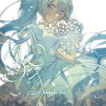 1girl 39 aqua_eyes aqua_hair beads blush bouquet commentary dated dress flower from_side hatsune_miku head_out_of_frame highres holding holding_bouquet light_smile long_hair looking_at_viewer mikka620 ribbon solo twintails upper_body very_long_hair vocaloid white_flower