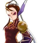 1girl animal_ears breasts breath_of_fire breath_of_fire_iv brown_hair bun_cover closed_mouth commentary_request dress eyeshadow looking_at_viewer makeup nyantiu short_hair simple_background solo ursula_(breath_of_fire) white_background