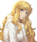 1girl aran_sweater bare_shoulders blonde_hair blue_eyes breasts collarbone commentary_request eyebrows_visible_through_hair face grin idolmaster idolmaster_cinderella_girls large_breasts long_hair looking_at_viewer natsuyu ootsuki_yui ribbed_sweater simple_background smile solo sweater teeth very_long_hair wavy_hair white_background white_sweater