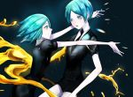 2others androgynous aqua_eyes aqua_hair colored_eyelashes crystal_hair dark_background dual_persona gem_uniform_(houseki_no_kuni) gold golden_arms houseki_no_kuni hug looking_at_another multiple_others multiple_persona necktie phosphophyllite short_hair smile