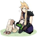 1boy 1girl :d black_hair blonde_hair blue_eyes breasts bright_pupils brown_eyes brown_footwear brown_gloves brown_shorts closed_mouth cloud_strife crop_top eyebrows_visible_through_hair final_fantasy final_fantasy_vii fishnet_legwear fishnets frown garter_straps gloves hands_on_another's_face loose_socks lying on_back open_mouth ribbed_legwear shoes shorts shoulder_pads single_glove single_thighhigh sitting small_breasts smile spiky_hair thigh-highs tonmoh turtleneck white_background white_pupils yuffie_kisaragi