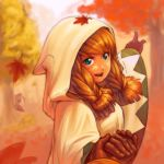 1girl blonde_hair blue_eyes braid commentary final_fantasy final_fantasy_tactics gloves hood leaf long_hair momigara_(mmgrkmnk) open_mouth robe smile tree twin_braids twintails white_mage white_mage_(fft)