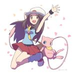 1girl agata_(agatha) bag blue_(pokemon) blue_shirt breasts creatures_(company) game_freak gen_1_pokemon hat medium_breasts mew nintendo pokemon pokemon_(game) pokemon_frlg shirt skirt white_hat