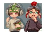 1boy 1girl aqua_eyes artist_name bag_of_chips black_sweater chips closed_mouth domino_mask fangs food goggles goggles_on_head green_hair hair_bun hand_up headphones inkling long_sleeves mask mohawk octarian octoling ohil_(ohil822) open_mouth pointy_ears red_eyes redhead short_hair splatoon splatoon_(series) splatoon_2 suction_cups sweater teeth tentacle_hair upper_body white_sweater