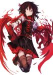 1girl absurdres belt black_belt black_skirt bob_cut cloak commentary_request cross-laced_clothes full_body grin hair_between_eyes highres holding kaamin_(mariarose753) legs_together looking_at_viewer loose_belt medium_hair red red_cloak ruby_rose rwby sideways_mouth simple_background skirt smile solo thigh-highs white_background