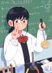 1girl 49s-aragon bangs black_hair blush bow chalkboard glasses highres labcoat laboratory ladle long_hair long_sleeves necktie original ponytail red_bow red_neckwear smile solo spoon test_tube thermometer upper_body w