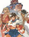 1girl 3boys abs beads black_hair blue_sailor_collar brown_eyes brown_hair dougi fighting_stance fingerless_gloves from_behind gloves gouki headband heaven_(kanji) highres jet_kimchrea kasugano_sakura ken_masters looking_at_viewer looking_back midriff multiple_boys muscle prayer_beads puffy_short_sleeves puffy_sleeves red_pupils ryuu_(street_fighter) sailor_collar school_uniform serafuku short_hair short_sleeves simple_background skirt standing street_fighter street_fighter_zero_(series) twitter_username white_background