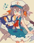 1girl :d alternate_costume anchor_symbol aqua_eyes ascot auko blue_skirt brown_hair cowboy_shot creatures_(company) crop_top double_bun emolga eyebrows_visible_through_hair eyes_visible_through_hair fur-trimmed_skirt fur_trim game_freak gen_5_pokemon hair_ornament hair_ribbon hairclip hat legs_together long_hair mei_(pokemon) nintendo no_nose open_mouth pokemon pokemon_(creature) pokemon_(game) pokemon_bw2 red_neckwear ribbon skirt smile star striped suspender_skirt suspenders twintails white_hat