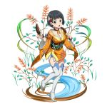 1girl :o animal_print augma black_hair black_ribbon blue_eyes blush boots bracelet butterfly_hair_ornament butterfly_print choker collarbone floral_print flower food full_body hair_flower hair_ornament highres holding holding_food japanese_clothes jewelry kimono kirigaya_suguha looking_at_viewer official_art orange_kimono pink_footwear print_kimono red_flower red_rose ribbon ribbon_choker rose shiny shiny_hair short_hair short_kimono solo standing standing_on_one_leg sword_art_online thigh-highs thigh_boots transparent_background white_flower white_footwear zettai_ryouiki