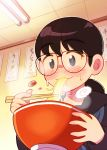 1girl 49s-aragon bangs black_hair blush bow bowl chopsticks eating food glasses grey_eyes halftone highres holding holding_bowl holding_chopsticks noodles original portrait red_bow smile solo steam sweatdrop