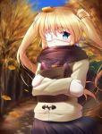 1girl black_skirt blonde_hair blue_eyes blurry blurry_background crossed_arms day eyebrows_visible_through_hair eyepatch floating_hair gloves hair_between_eyes leaf leaf_on_head long_hair long_sleeves miniskirt mittens nakatsu_shizuru open_mouth outdoors pleated_skirt rewrite skirt solo standing tagame_(tagamecat) very_long_hair white_coat white_gloves