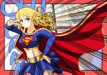 1girl ayase_eli cape cosplay costume dc_comics english_text horosho jou_(circlemay) long_hair love_live! love_live!_school_idol_project skirt sound_effects stomach supergirl supergirl_(cosplay) superhero v_over_eye