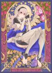 1girl black_gloves black_hairband female_my_unit_(fire_emblem_if) fire_emblem fire_emblem_if flower full_body gloves grey_legwear hair_between_eyes hairband invisible_chair long_hair looking_at_viewer my_unit_(fire_emblem_if) nintendo pink_flower purple_flower quentin_lecuiller red_eyes shiny shiny_hair silver_hair sitting solo yellow_flower