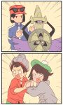 1girl 2boys :d aegislash bangs beanie black_hair brown_hair calme_(pokemon) comic creatures_(company) emphasis_lines eyewear_on_head female_protagonist_(pokemon_swsh) game_freak gen_6_pokemon green_hat grey_hat hand_holding hat heart heart_in_mouth highres interlocked_fingers long_sleeves male_protagonist_(pokemon_swsh) multiple_boys nintendo open_mouth pokemon pokemon_(game) pokemon_swsh silent_comic smile toffmikin