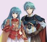 1boy 1girl aqua_hair armor belt blue_eyes breastplate brother_and_sister brown_gloves cape closed_mouth earrings eirika ephraim fingerless_gloves fire_emblem fire_emblem:_seima_no_kouseki gloves jewelry long_hair long_sleeves mememefe nintendo open_mouth red_gloves short_hair siblings simple_background smile