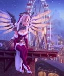 1girl bangle belt belt_buckle bird blonde_hair blue_eyes bracelet breasts buckle building cafe christmas christmas_lights cleavage dated dress elbow_gloves faulds ferris_wheel fog foot_dangle full_body fur-trimmed_legwear fur_trim gloves glowing glowing_wings grey_scarf hair_over_one_eye half-timbered hat high_heels highres holly jewelry large_breasts leaning_forward legs_crossed legs_together leo_queval leotard light_smile looking_away mechanical_halo mechanical_wings mercy_(overwatch) mole mole_on_breast mountain night nose on_roof outdoors overwatch pauldrons pelvic_curtain pink_lips red_dress red_gloves red_legwear rooftop santa_costume santa_hat scarf shoes shutter sign signature sitting sky sleeveless snowing solo spread_wings swiss_flag thigh-highs town white_footwear window winged_shoes wings yellow_wings