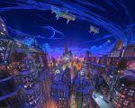 3d aircraft airship arsenixc balcony blue_sky building highres moon night night_sky no_humans original outdoors rooftop scenery sky skyscraper watermark window