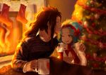 1boy 1girl ;d black_hair blue_hair blurry blurry_background bow brown_eyes christmas_tree collarbone ear_piercing fairy_tail fire forehead_kiss gajeel_redfox hair_bow hairband highres jacket jewelry kiss ksmile1313 levy_mcgarden long_hair long_sleeves one_eye_closed open_mouth piercing print_sweater red_bow red_hairband red_sweater ring short_hair sitting smile sweater under_covers wedding_band white_jacket