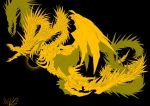 aura black_background black_hole_(space) claws dragon dragon_horns eldritch_abomination ghidorah_(godzilla:_the_planet_eater) giant giant_monster glowing godzilla:_planet_of_the_monsters godzilla:_the_planet_eater godzilla_(series) gold horns kaijuu king_ghidorah monster multiple_heads no_eyes no_humans open_mouth plaguebr scales sharp_teeth space tail teeth wings