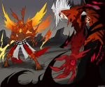 2boys blazblue blazblue:_calamity_trigger blood_cain blood_cain_idea claws clouds cloudy_sky commentary commission crossover devoured_by_darkness dragon_horns dragon_install dragon_tail dragon_wings duel energy_sword energy_wings english_commentary evil_eyes evil_grin evil_smile extra_eyes fighting grin guilty_gear guilty_gear_2 horns jacket kawaiisonicchao left-handed male_focus multiple_boys muscle no_pupils open_mouth ragna_the_bloodedge red_eyes reverse_grip rock silver_hair sky smile sol_badguy spiky_hair sword tagme tail weapon wings yellow_eyes