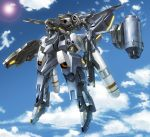 blue_sky clouds dual_wielding flying gun highres holding holding_gun holding_weapon mecha moyashi_(karamisouma) original outdoors rifle robot sky solo weapon