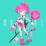 1girl alternate_costume aqua_background backpack bag character_name closed_mouth collarbone copyright_name cup drinking_straw eyebrows_visible_through_hair frown full_body game_boy handheld_game_console holding holding_cup kumatora legs_apart looking_at_viewer mother_(game) mother_3 nike nintendo otoe_(milkyboy_inc.) panties pink_footwear pink_hair pink_shorts shirt shoes short_hair short_sleeves shorts sign simple_background skateboard sneakers socks solo stop_sign t-shirt underwear violet_eyes watch watch white_legwear white_shirt yellow_panties