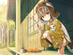 1girl anklet ayakashi_kyoushuutan barefoot bird bird_girl blush branch brown_eyes brown_hair brown_hat cura day feathers floral_print food fruit full_body goggles goggles_on_head goggles_on_headwear hat highres hiyo_(whisp) holding_branch japanese_clothes jewelry looking_at_viewer monster_girl multicolored_hair orange outdoors porch short_hair smile solo squatting streaked_hair white_hair wide_sleeves