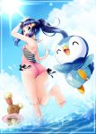 ass barefoot blue_eyes blue_hair buneary clouds creatures_(company) game_freak gen_4_pokemon highres hikari_(pokemon) looking_back nintendo one-piece_swimsuit outdoors piplup pokemon ponytail sidelocks sun swimsuit water yuino_(fancy_party)