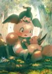 blush bow caterpie caterpillar closed_eyes commentary_request creatures_(company) eevee forest game_freak gen_1_pokemon gen_4_pokemon highres manino_(mofuritaionaka) mime_jr. mr._mime nature nintendo no_humans open_mouth pikachu pokemon pokemon_(creature) signature sitting tree tree_stump weedle